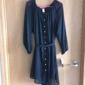 Black dress w/tie belt